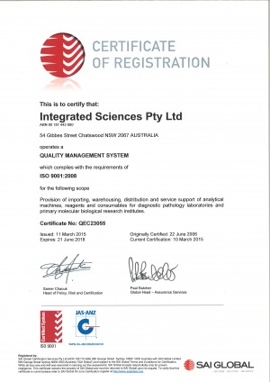 Integrated Sciences ISO certificate
